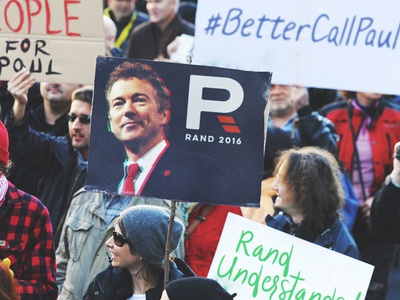 Rand Rally reimagining advertising sign rally brand logo republican america campaign politician rand paul