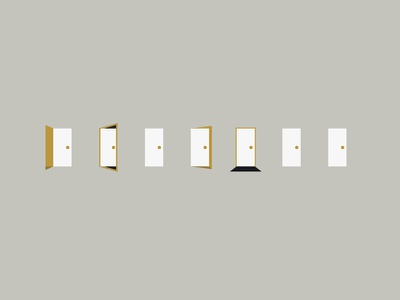 The Doors brand icon conceptual flat closed open illustration doors hotel why