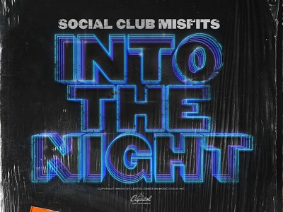 "Social Club Misfits ""Into The Night"" Album Artwork typography neon texture plastic 80s hiphop record vinyl retro album club social"