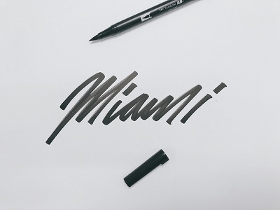 Miami hand thick black stroke type handwritten pen brush tombow lettering miami