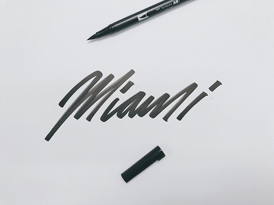 Miami hand thick black stroke type handwritten pen brush tombow lettering miami
