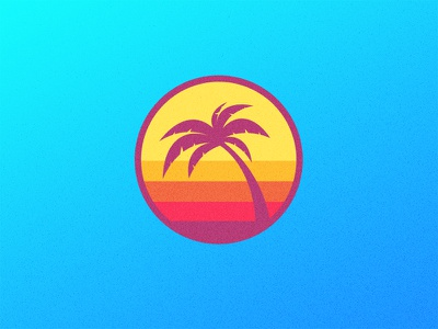 Sunrise Palm sunset beach pink orange thick lines ocean sunrise bands miami palm tree colorful badge