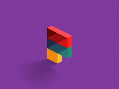 F'UN angle icon kids blocks stack 3d logo letter f monogram colorful thick lines