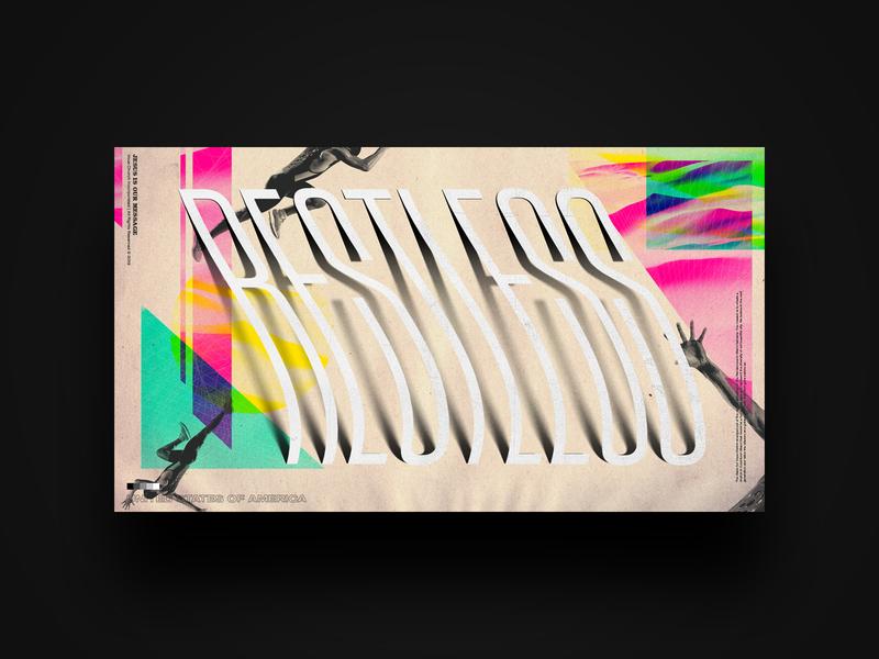Restless — Sermon Collection Concept stretch cmyk rgb vous church vaporwave 90s church slide sermon typography vous