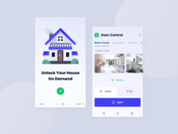 Smart Home - Door Control App secure camera house cosy houses illustraion materialdesign android design android mobile layout smarthome design