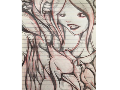 Just a girl with 3 birds sketched in a a5 notebook birds notebook a5 bird girl red black pencil