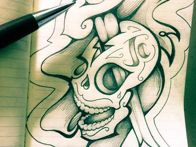 Day 14 - Skull - 31 Days of Skulls - Cancer in your head paper illustration educastellanos challenge cancer october notebook pencil halloween 31daysofskulls skull