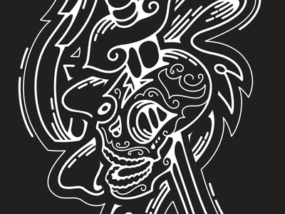 Candy skull with a sword vectorized papa mexican candy lines ribbon head cancer sword illustrator vector blackwhite skull