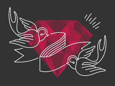 Just a polygon jewel plus a couple of swallows vector simple illustration design color clean pennant jewel swallow animal polygon diamond