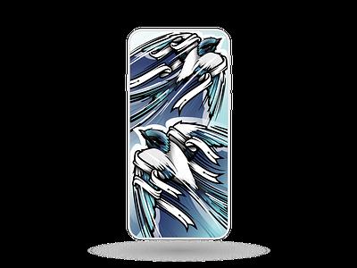 4 colours + 5902 bezier corners = 2 swallows bezier wildlife blue print cover design illustration iphone phone illustrator swallow bird
