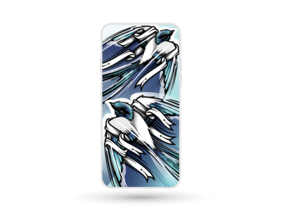 4 colours + 5902 bezier corners = 2 swallows bezier wildlife blue print cover design illustration iphone phone illustrator swallow bird