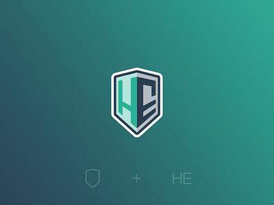 H E - Developer Logo branding logotype coding shield gradient code developer badge logo