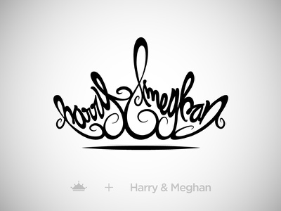 Harry & Meghan - Royal Wedding lettering black illustrator queen king england uk crown wedding royal meghan harry
