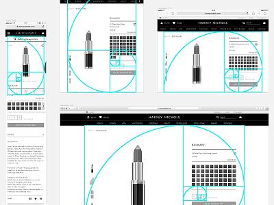 Golden Ratio X Harvey Nichols (product detail pages) web device screen layout buy pdp harvey nichols responsive ecommerce shop product golden ratio