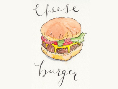 Cheese Burger Spot Illustration calligraphy hand drawn type food illustration ink watercolour