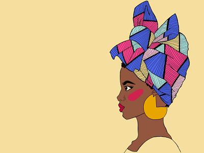 African Headwrap/ Turban illustration traditional dress fashion activist illustration digital illustrations digital illustration ink drawing fashion illustrator fashion illustration
