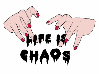 Life is Chaos T-Shirt Design hands t-shirt design typography fashion illustration photoshop ink drawing digital illustration