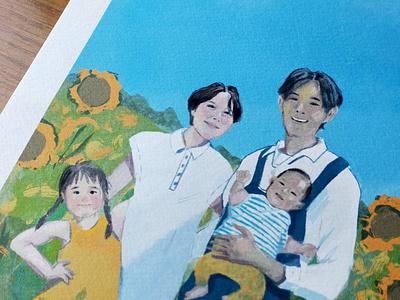 Family Portrait in a Sunflower Field sketchy procreate art portrait illustraion procreate