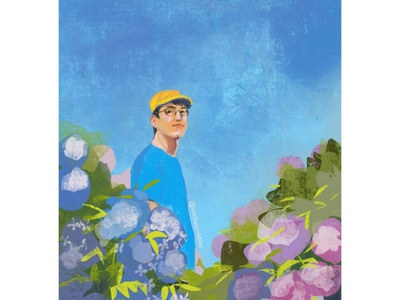 Man in a Hydrangea Field editorial illustration illustration impressionistic style portrait digital illustration
