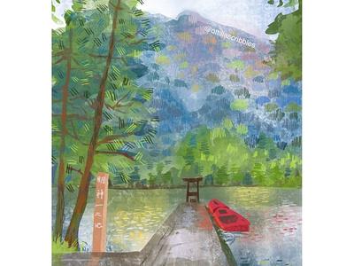 Myojin-ike Pond sketch editorial illustration nature shinto spirituality scenery japan procreate digital illustration illustration
