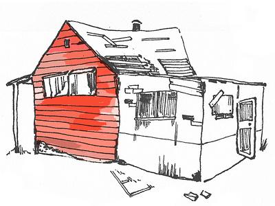 191216 Delapadated House by Ottilia Stephens ink design sketch illustration