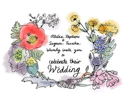 191216 Wedding Card Wreath handdrawn fine nib pen and ink watercolour flowers wedding ink