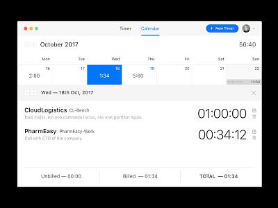 Calendar — Timesheets accounting timesheet tracking time calendar light clean minimal app mac ui ux