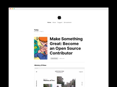Feed inspiration articles feed clean minimal web ui ux