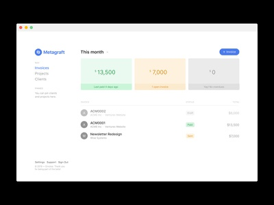 Invoicing Dashboard #2 invoices app clean minimal web ui ux