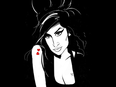 Amy Winehouse illustrator illustration index finger sketch amy winehouse