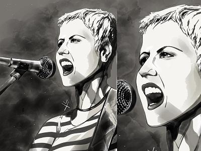 Dolores O'Riordan portrait illustrator illustration sketch index finger sketch the cranberries dolores oriordan