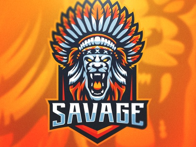 SAVAGE - Elder Lion Mascot Design savage elder native american lion bold sports design esports vector gaming logo cool mascot illustration branding logo