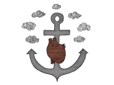 Fatih Love & Hope faith love hope illustration heart anchor clouds