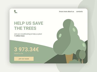 Daily UI 032 - Crowdfunding Campaign dailyui 032 dailyui032 daily ui dailyui plants illustration money goals campaign crowdfunding trees figma design