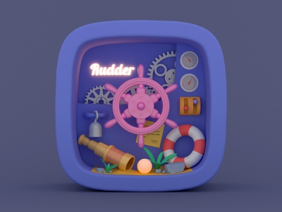Rudder pirate illustration render 3d c4d