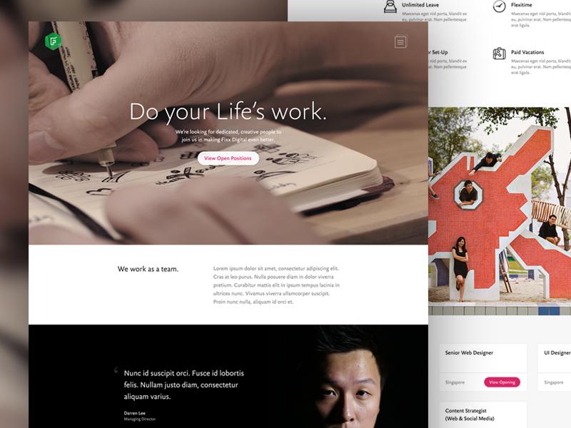 Do Your Life's Work desktop psd hiring microsite hero minimal digital fixx jobs careers landing