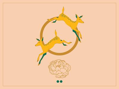 Fawns and Flower deer flower illustration design
