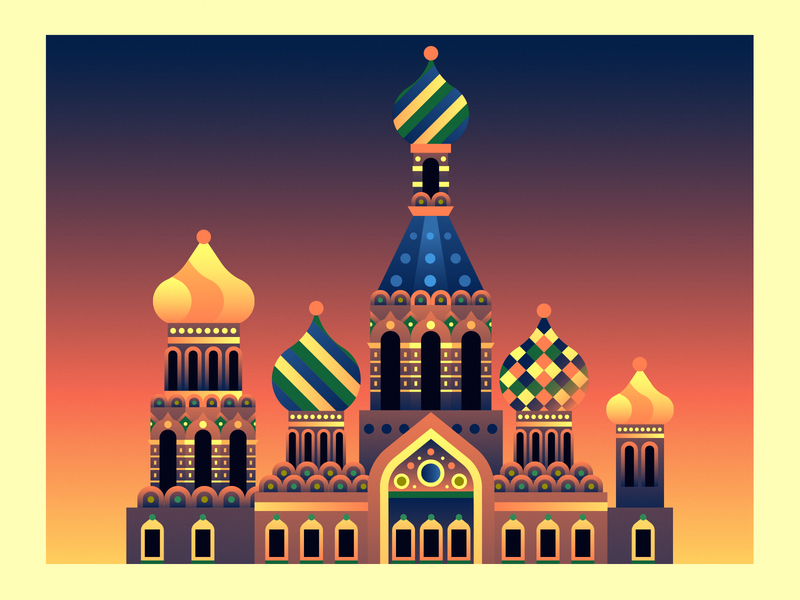 Church of the Savior on Blood russia church architecture illustration flat landscape city
