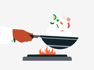 Preparing Order food illustration knife wok box illustration gif lottiefiles lottie motiongraphics motion graphics animation hands restaurant food
