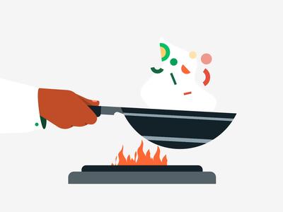 Preparing Order food illustration knife wok box illustration gif lottiefiles lottie motiongraphics motion graphics animation hands restaurant food
