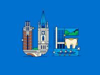 UE college school dentistry architecture illustration landscape flat