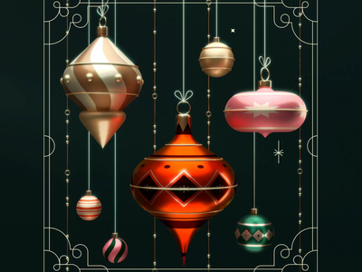 Xmas Ornaments 3d animation redshift cinema 4d stars christmas holidays xmas ornaments ornament 3d art illustration 3d
