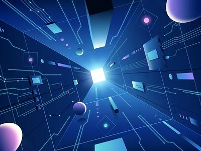Tunnel BBVA motion graphics illustration geometric abstract 3d tunnel