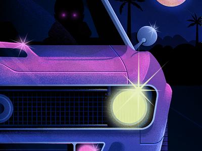Late-Night Drive neon horror illustration camaro car landscape