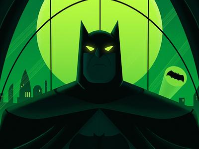 The Dark Knight moon city batman illustration