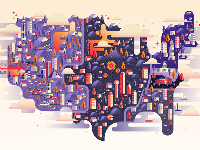 Us Map By Aldo Crusher On Dribbble - Us-flat-map