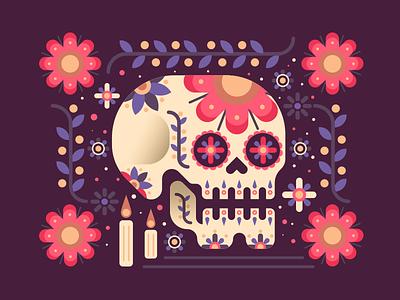 Dia de Muertos flat flowers tradition day of the dead mexico sugar skull