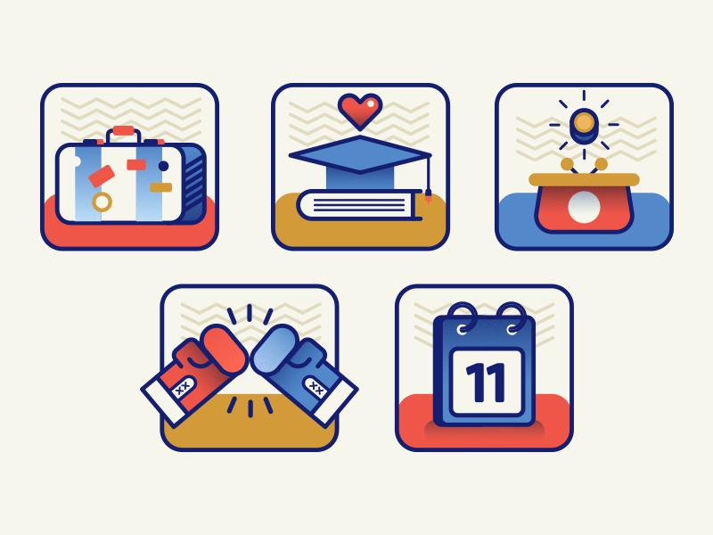 Icons suitcase graduate purse box calendar spot icon