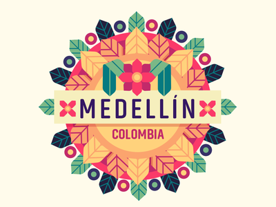 Medellin Colombia flat badge festival flowers colombia medellin