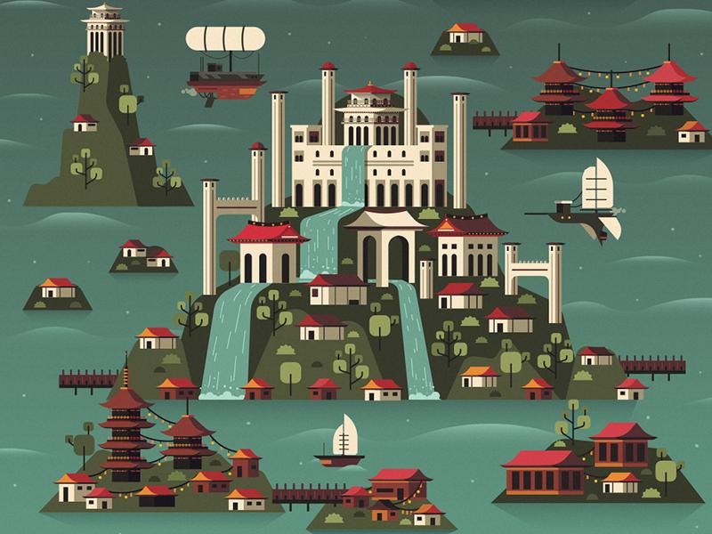 Futuristic Shangri-la waves ship sea steampunk pagoda shangri-la